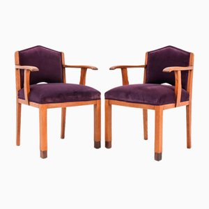 Oak Art Deco Armchairs from FA Drilling Amsterdam, 1920s, Set of 2