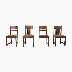 Art Deco School Dining Chairs, The Netherlands, 1930s, Set of 4