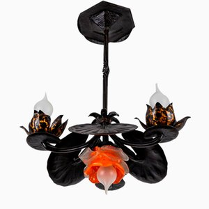 Wrought Iron and Glass Water Lily Chandelier
