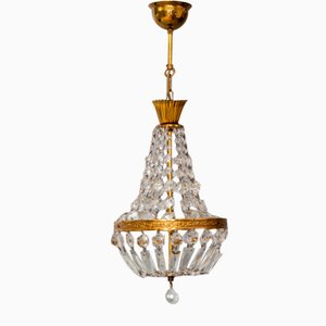French Empire Style Brass and Crystal Glass Basket Chandelier