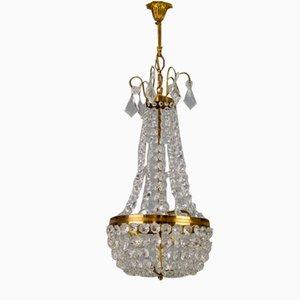 Vintage Brass and Crystal Glass Basket Chandelier