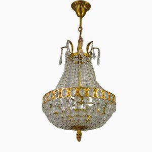 French Empire Style Crystal Glass Basket-Shaped Chandelier