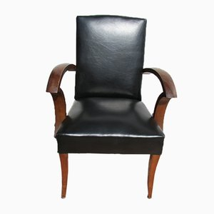 Bridge Chair in Walnut and Leatherette, 1940s