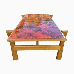 Table Basse Vintage Émaillée avec Plateau Effet Lave, 1970s