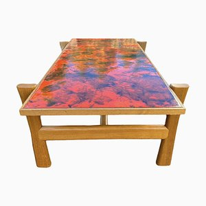 Vintage Enameled Coffee Table with Lava Effect Top, 1970s