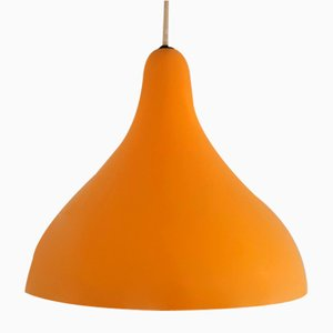 Ochre Yellow Metal Pendant Lamps by Lisa Johansson-Pape for Orno, Finland, 1950s, Set of 2