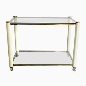 Brass and Beige Lacquered Metal Drinks Trolley with 2 Glass Shelves in the Style of Tommaso Barbi, 1970s
