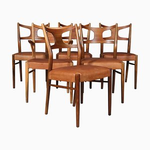 Dining Chairs in Teak and Beech Cognac Aniline Leather by Kurt Østervig, Set of 6