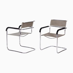 Bauhaus Chrome and Fabric Armchairs by Marcel Breuer and Thonet, 1930s, Set of 2