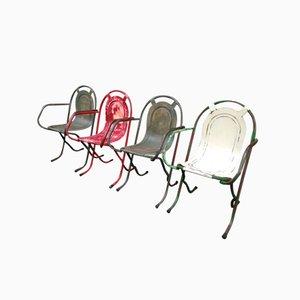 Chaises Empilables Industrielles en Métal, 1940s, Set de 4