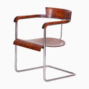 Czech Walnut Art Deco Chair by Jindrich Halabala, 1930s