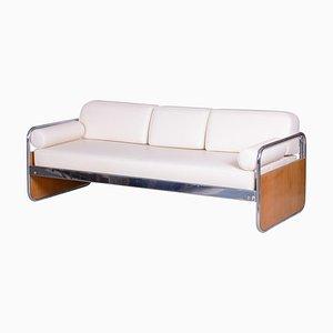 Czech Bauhaus Ivory Tubular Chrome Sofa by Hynek Gottwald, 1930s