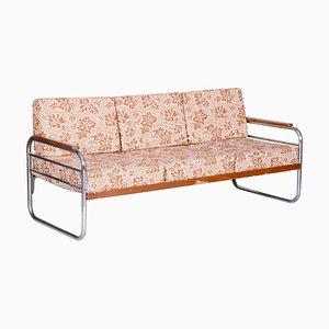Bauhaus Fabric Tubular Chrome Sofa from Vichr a Spol, 1930s