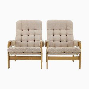 Beech High Back Armchairs, Czechoslovakia, 1970s, Set of 2
