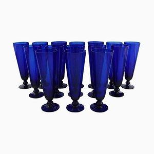 Champagne Flutes in Blue Mouth Blown Art Glass by Monica Bratt for Reijmyre, Set of 15