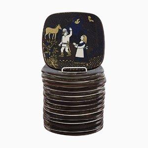 Kalevala Plates in Glazed Ceramics by Raija Uosikkinen for Arabia, Set of 15