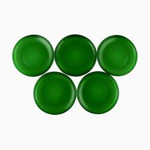 Luna Dinner Plates in Green Glass by Kaj Franck 1911-1989 for Nuutajärvi, Set of 5