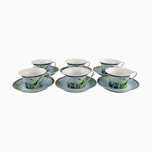 Jungle Tea Cups with Saucer in Porcelain by Gianni Versace for Rosenthal, Set of 12