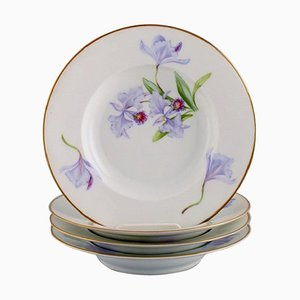 Antique Royal Copenhagen Model 72/10515 Deep Plates in Porcelain with Hand-Painted Flowers, Set of 4