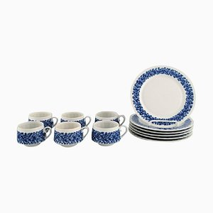 Porcelain Coffee Service with Floral Decoration from Doria, Set of 12