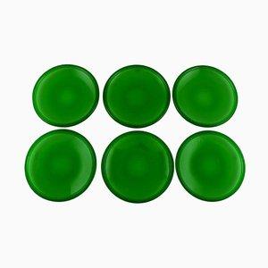 Luna Plates in Green Art Glass by Kaj Franck 1911-1989 for Nuutajärvi, Set of 6