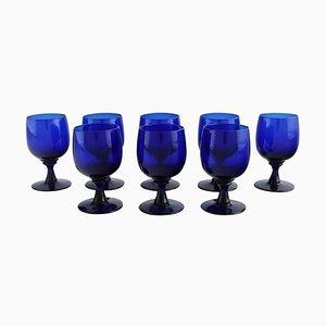 Sherry Glasses in Blue Mouth Blown Art Glass by Monica Bratt for Reijmyre, Set of 8