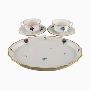 Royal Copenhagen Light Saxon Flower Coffee Cups with Saucers and Tray, Set of 5