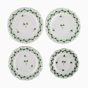 Herend Green Clover Plates in Hand-Painted Porcelain with Gold Edge, Set of 4
