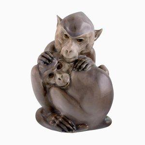 Porcelain Figure of Two Monkeys by Christian Thomsen for Royal Copenhagen