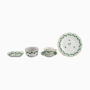 Herend Green Clover Egoist Coffee Service in Hand-Painted Porcelain, Set of 5