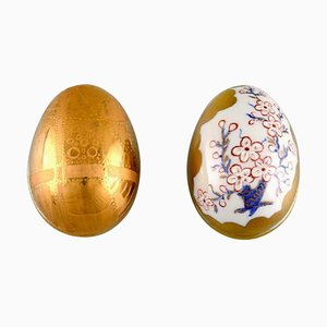 Porcelain Easter Eggs with Hand-Painted Flowers and Gold Decoration, Set of 2
