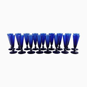 Small Cocktail Glasses in Blue Mouth Blown Glass by Monica Bratt for Reijmyre, Set of 17