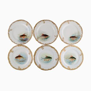 Antique Pirkenhammer Dinner Plates in Porcelain with Hand-Painted Fish, Set of 6