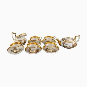 Antique Empire Tea Service for Five People in Porcelain, 1831, Set of 12