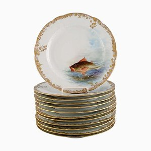 Antique Pirkenhammer Porcelain Dinner Plates with Hand-Painted Fish, Set of 12