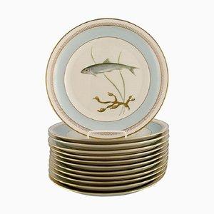 Royal Copenhagen Porcelain Model 1158/9581 Dinner Plates with Hand-Painted Fish Motifs, Set of 12