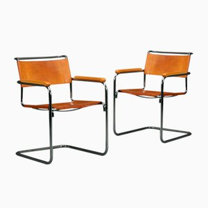 Vintage Thonet S34 Chair Classic Chair in Cognac Leather by Mart Stam