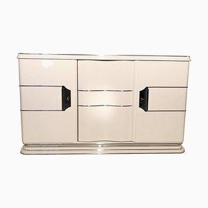Weißes Art Deco Liner Sideboard mit Chromgriffen