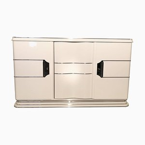 White Art Deco Liner Sideboard with Chrome Handles