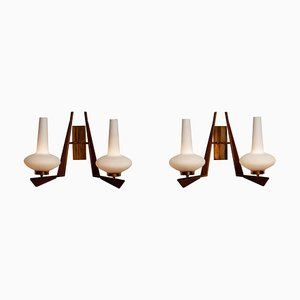 Large Italian Brass, Opal Glass and Teak Double Arms Wall Lights, 1950s, Set of 2
