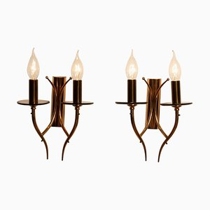 Brass and Smoked Glass Wall Lights / Sconces, Italy, 1960s, Set of 2