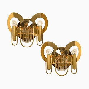 Brass and Glass Wall Sconces by Gaetano Sciolari, 1970s, Set of 2