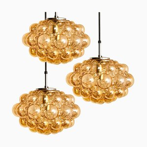 Amber Bubble Glass Pendant Lamps by Helena Tynell for Limburg, 1960s