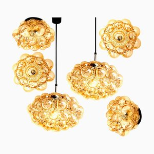 Amber Bubble Glass Pendant Light Fixtures by Helena Tynell, 1960s, Set of 6