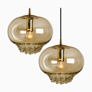 Smoked Golden/Brown Pendant Lights by Peill and Putzler, 1960s, Set of 2