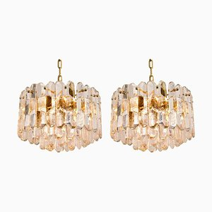 Palazzo Pendant Lights in Gilt Brass and Glass, Set of 2