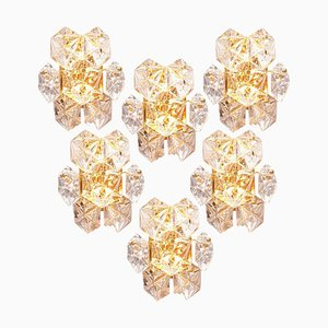 Faceted Crystal and Gilt Sconces from Bakalowits & Söhne, Germany, 1970s, Set of 6