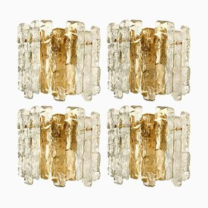 Ice Glass Wall Sconce with Brass Tone from J. T. Kalmar
