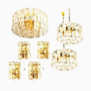 Palazzo Light Fixtures in Gilt Brass and Glass by J. T. Kalmar, 1970s, Set of 7