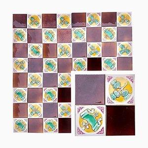 Art Deco Tiles by S. A. Faienceries De Bouffioulx, 1930s, Set of 110